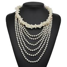 new z design fashion luxury simulated pearl pendant choker necklace mixed statement jewelry pearl collar necklace