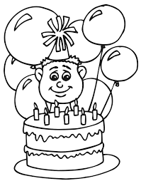 Small Picture Birthday Coloring Page A Seven Year Old With His Cake