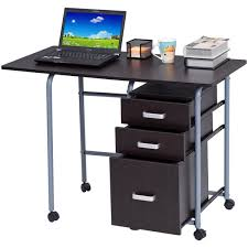 brown folding computer laptop desk wheeled home office furniture with 3 drawers