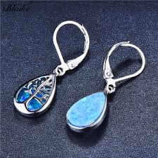 <b>Blaike 925 Sterling Silver</b> Blue/White Fire Opal Life Tree Drop ...