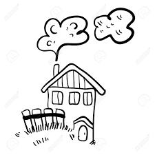 白い背景の上のかわいい落書き農家の家シンプルなイラスト面白い漫画の古い家少し古い農家の家のベク