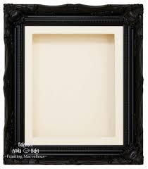black swept ornate deep box frame 12x10 cream 1 mount cream back