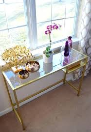 gold and glass desk desk to gold console table could do this with any ugly metal glass table home decor glass table and glass desk gold legs