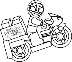 Small Picture Spider Man Lego Driving Bike Coloring Page Wecoloringpage
