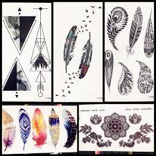Women Geometry Tattoo Sticker Black Feather Triangle Pattern Tatoo