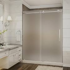 completely frameless sliding shower door with frosted glass in stainless steel
