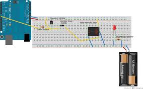 arduino how to wire a relay codeproject you ll see the arduino on the left hand side providing power to the relay and the accompanying components and on the right hand side is the red led i m