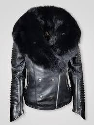 <b>Women's</b> Motorcycle Biker Jacket with Detachable Fox Fur Collar ...