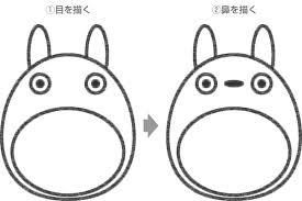 Step2 トトロの目鼻を描く 超簡単可愛いキャラクターの