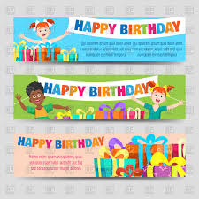 Birthday Boy Banner Design Birthday Banners Template With Kids And Gifts Stock Vector Image