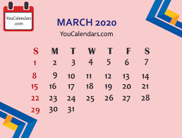 Month Of March Calendar 2020