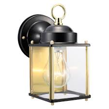 coach polished brass and black outdoor wall mount downlight