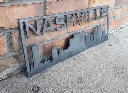 Nashville Sign Decor Nashville Skyline Metal Sign Custom Metal Sign Maker Table 45