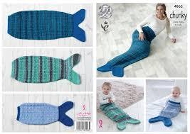 Mermaid Blanket Knitting Pattern Amazing Mermaid Tail Blankets Knitting Pattern Baby To Adult Sizes King Cole