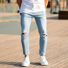 What To Wear With Light Blue Jeans Men Mens Light Blue Jeans With Rips Jeans 29 Color Denim Blue