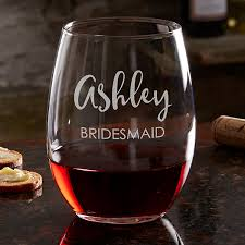 engraved bridal party wine glass collection 17863