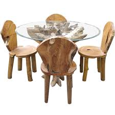 teak root glass dining table set furniture ishka room tables round small dinner kitchen circular walnut top antique with black chairs and dark wood french