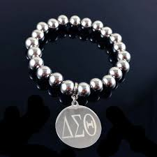 sorority high quality 316l snless steel delta sigma theta sheild charm dst charter member bracelet jewelry bangle