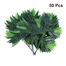 Buy Amosfun 50pcs <b>Artificial</b> Green <b>Bamboo Leaves Fake</b> Green ...