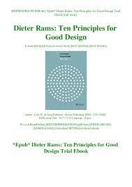 Dieter Rams Ten Principles For Good Design Book Pdf Epub Dieter Rams Ten Principles For Good Design Trial Ebook