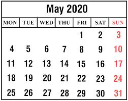 Calendar May 2020 May 2020 Calendar With Holiday Printable May Calendar Template