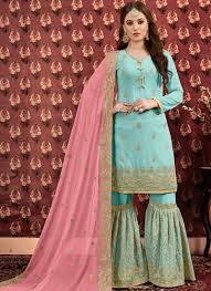 Designer Sharara Suits Latest Collection Sky Blue Designer Sharara Suit