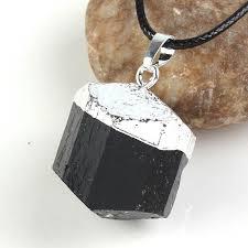 silver plated irregular natural black tourmaline ore energy chakra stone pendant stone crystal healing jewelry