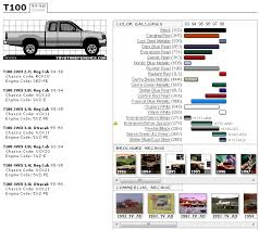 Toyota T100 Color Spec Chart Yotatech Forums