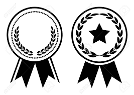 Black And White Award Medal With Ribbon Vector Illustration