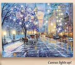 Lighted Central Park Canvas Wall Art Lighted New York Street By Central Park Holiday Scene Canvas