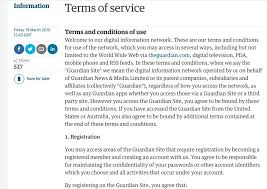screenshot of the guardian terms and conditions