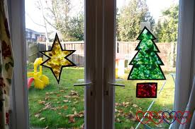 the finished star and tree on the french doors