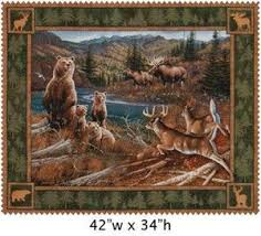 133 best Wildlife quilts images on Pinterest | Window, Coloring ... & 3 Yards Quilt Cotton Fabric - Springs Northern Rim Bear Deer Moose Quilt  Panel Adamdwight.com