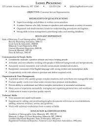 Combination Resume Example Customer Service Representative