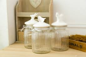 Decorative Glass Jars With Lids Big American Country Style Glass Jar with Ceramic Bird Lid 77