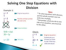 solution solving one step equations with division example 1 y 4 5 y 4