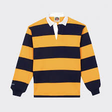 striped rugby shirt navy yellow