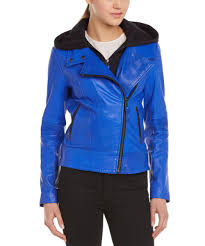authentic lyst mackage dalena leather er jacket in blue 510ad d61d4