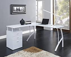 white corner office desk. White Corner Computer Desk Home Office PC Table With 3 Drawers L-Shaped N