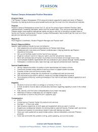 Sample Resume For On Campus Job Pearson Campus Ambassador Job Description 20