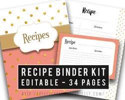 Recipe Binder Templates Printable Recipe Binder Kit Cookbook Template Editable Recipe Book Kitchen Organizer Recipe Cards