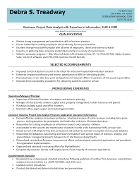 Business Project Data Analyst Resume Sample