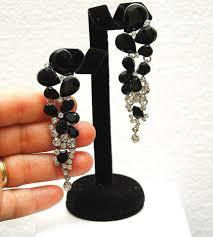 black crystal earrings long rhinestone earrings long chandelier silver earrings wedding jewelry teardrop earrings