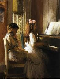 lady in red dress playing piano painting