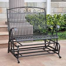 iron high back patio double glider