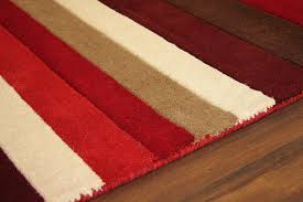 warm rich red wine brown striped thick wool rug small