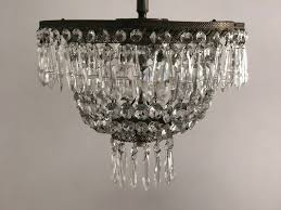vintage italian crystal flushmount chandelier 1