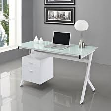 white glass computer desk pc table home office surripui