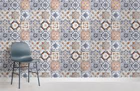 multicoloured portuguese tile room wall murals