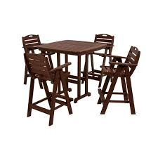 polywood nautical mahogany 5 piece plastic outdoor patio bar set